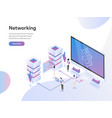 landing page template data networking vector image vector image