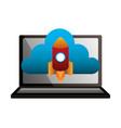 laptop cloud computing launching rocket vector image
