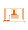 laptop computer video teaching home education line vector image vector image