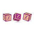 letter Z wooden alphabet blocks vector image vector image
