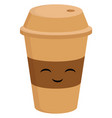 Light brown smiling coffee cup to go on white