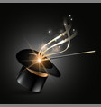 magic hat and wand with magical gold sparkle trail vector image vector image
