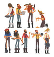 male prospectors characters set bearded gold vector image vector image
