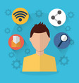 man internet wifi sharing email search icons vector image