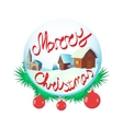 Merry Christmas glass snow ball icon vector image