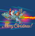 merry christmas retro santa claus with a deer vector image vector image