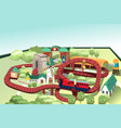 miniature toy train track vector image