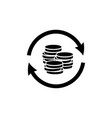 money transfer icon in flat style coin reload icon vector image