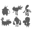 monster character silhouette funny design vector image