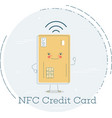 nfc credit card concept in line art style vector image vector image