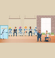 people and robot queue for job interview at office vector image
