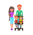 people walking with perambulator family pastime vector image vector image