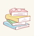 pile stack books glasses hand drawn style vector image