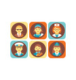 profession icons set bodyguard nurse doctor vector image vector image
