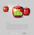 Red apples with bio label vector image vector image