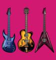 set color electric guitars for poster vector image