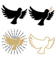 set dove icons pigeon with a laurel branch vector image