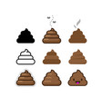 set of flat icons shit bunch of brown shit vector image