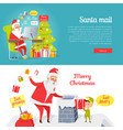 set of merry christmas and santa mail pictures vector image