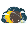 small people flat astrolomy sun eclipse vector image