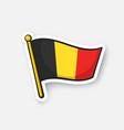 sticker flag belgium on flagstaff vector image
