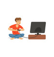 stressed depressed man is playing video game bad vector image