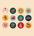 vintage christmas stickers vector image vector image