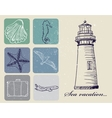 Vintage set of sea travel icons vector image vector image