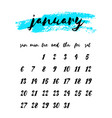 watercolor ink calendar template 2019 year vector image