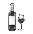wine bottle with glass sketch vector image