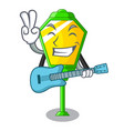 with guitar street lamp post in shape cartoon vector image vector image