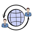 network connections between people icon cartoon vector image