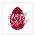 Happy Easter lettering on red flower egg vector image