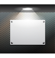 metallic plate on the perforated wall vector image