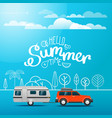 modern car on the way vacation concept with logo vector image