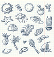 summer icon set sketch style vector image