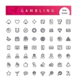 Casino Gambling Line Icons Set vector image