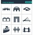 Set of modern icons Types of bridges vector image