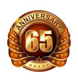 65 years anniversary golden label with ribbon vector image vector image