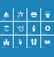 Beach icons on blue background vector image vector image