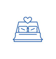 bed newlyweds line icon concept bed newlyweds vector image vector image