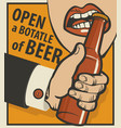 beer banner with a mans hand with a bottle vector image