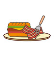 burger bacon with fork on dish fast food vector image