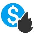 Burn Money Flat Icon vector image vector image