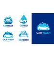 car wash set logos icons and elements