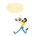 cartoon man running away with speech bubble vector image vector image