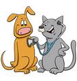 cat examining dog with stethoscope cartoon vector image vector image