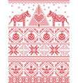 Christmas pattern with dala horse vector image vector image