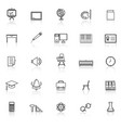 classroom line icons with reflect on white vector image vector image