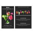 cocktail drinks realistic banner flyer vector image vector image